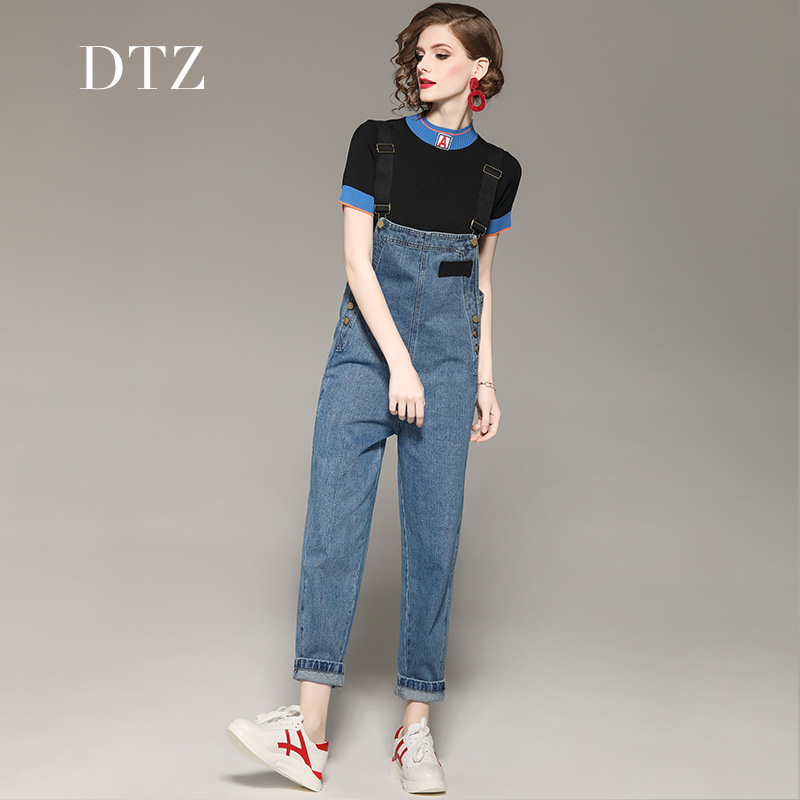 2019新款女装帅气减龄短袖针织T恤背带牛仔裤两件套休闲时尚套装