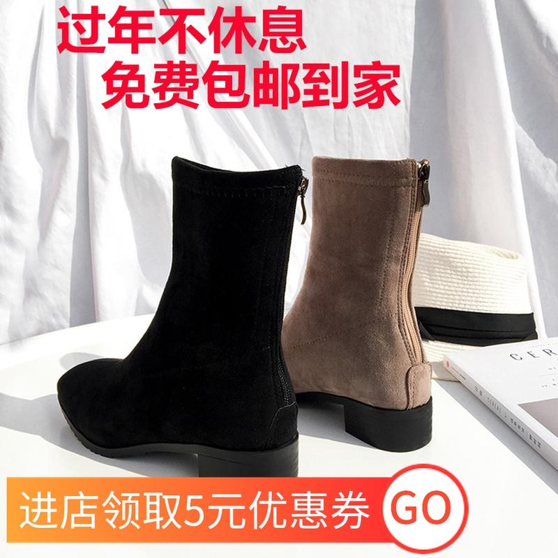 半高靴配裙子穿的靴子黛妮印花马丁靴女显脚瘦小跟短靴平底中筒靴