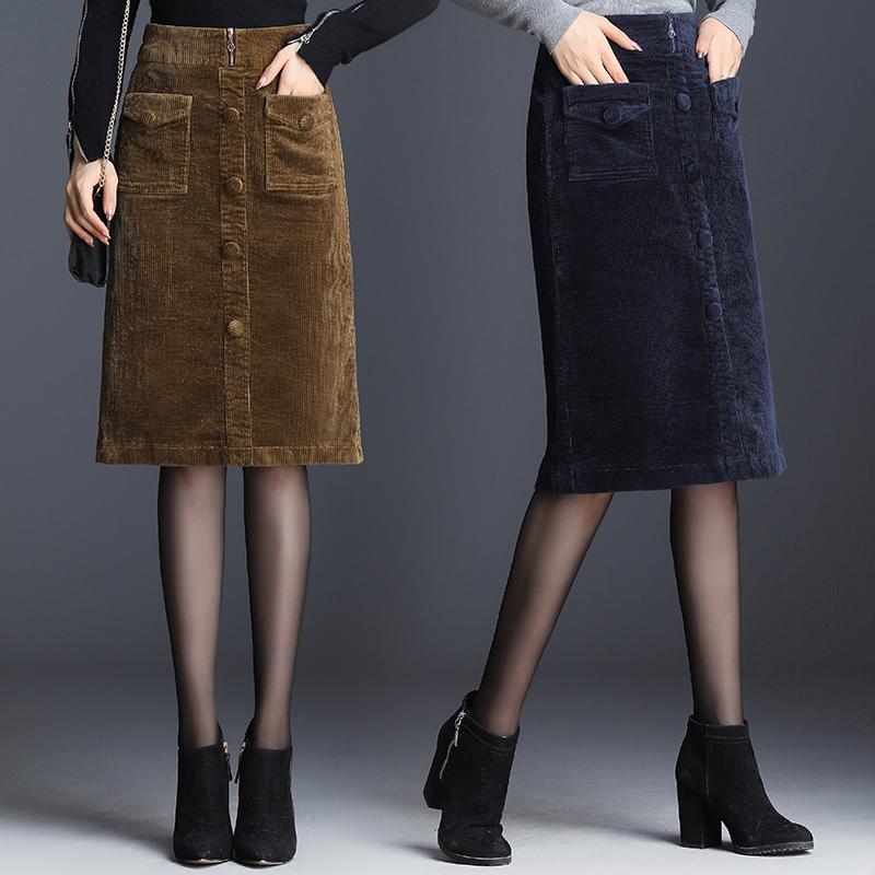 灯芯绒半身裙中长款2019秋冬新款黑色开叉一步包臀裙子条绒半裙