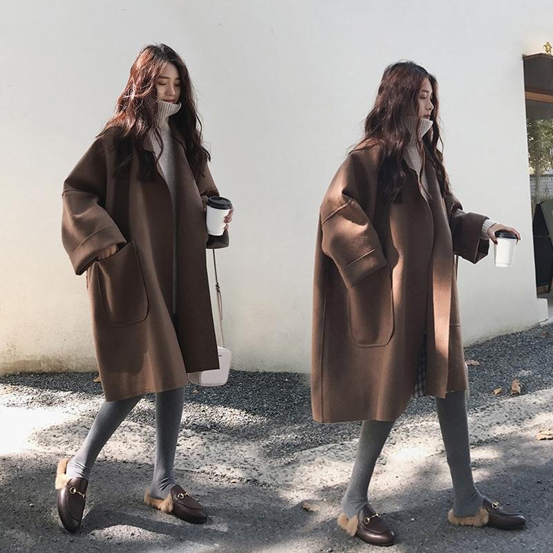 春秋2019加肥大码藏肉宽松显瘦中长款薄款毛呢外套女斗篷呢子大衣