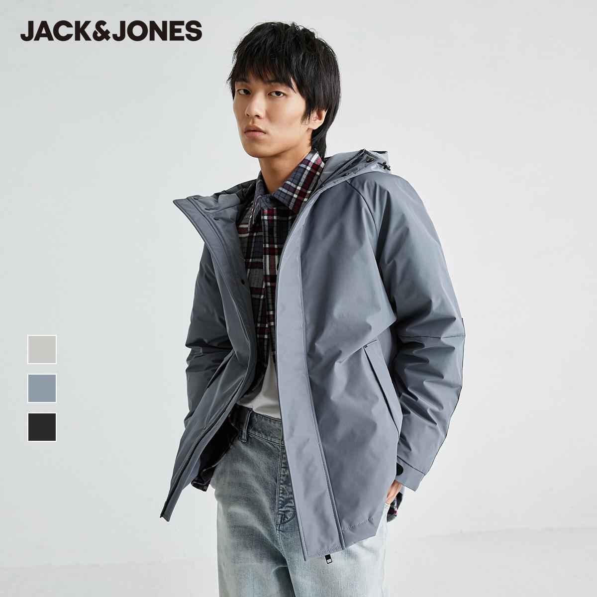 JackJones杰克琼斯秋防泼水商务休闲派克连帽男装羽绒服廓形韩版