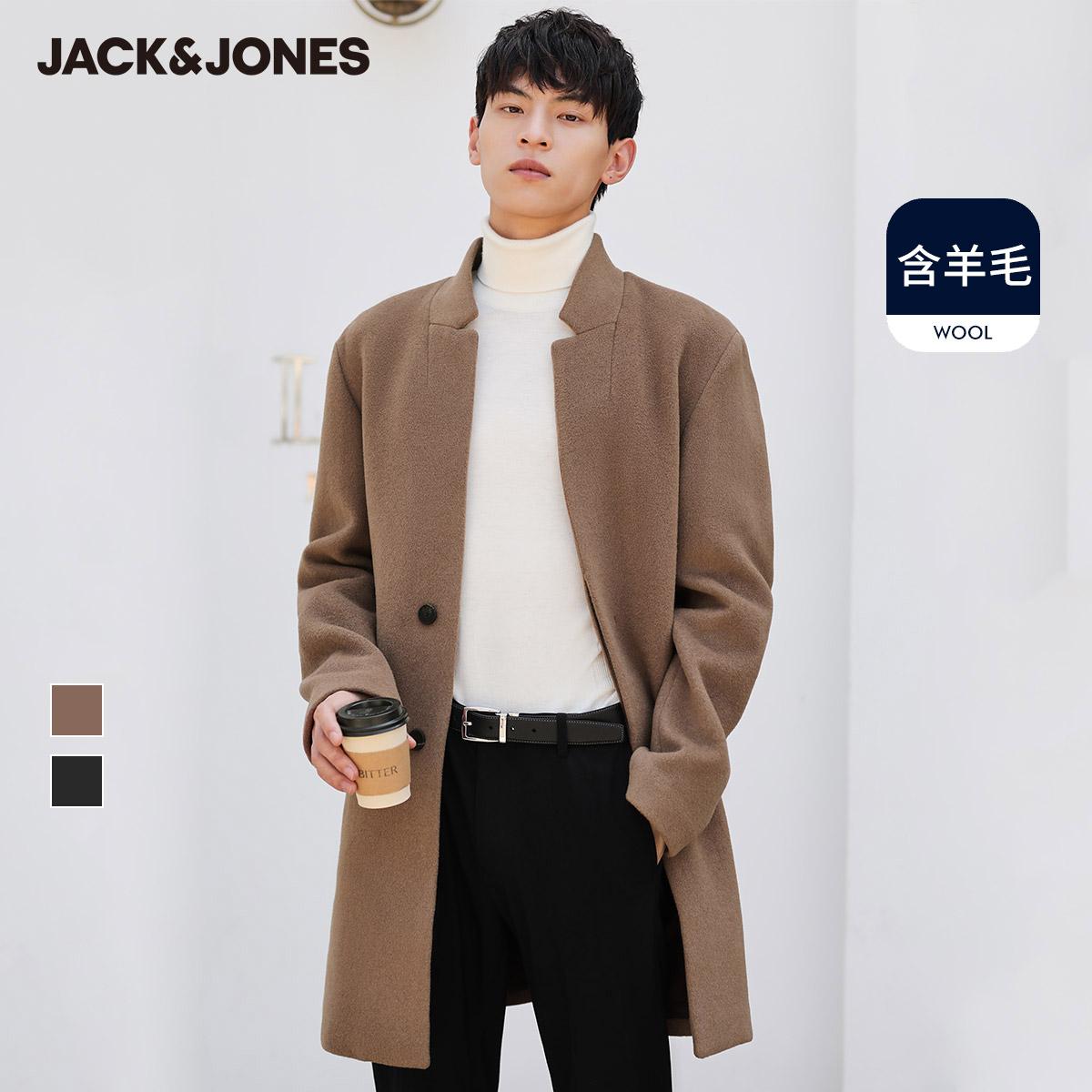 JackJones杰克琼斯秋冬保暖含绵羊毛休闲毛呢大衣男装中长款外套