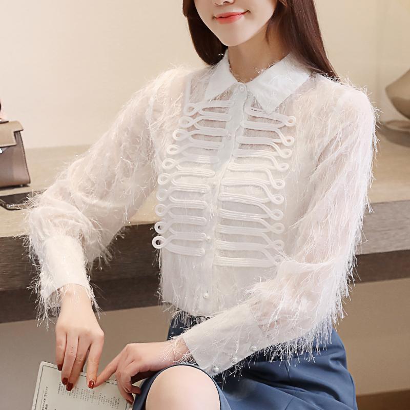 宫廷衬衫女长袖2019春装新款超仙气复古流苏毛毛白衬衣百搭上衣