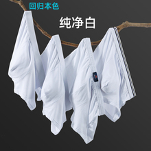 男士纯棉内裤纯白色op6角青年春cn式透气浅色中腰裤头婚纱照