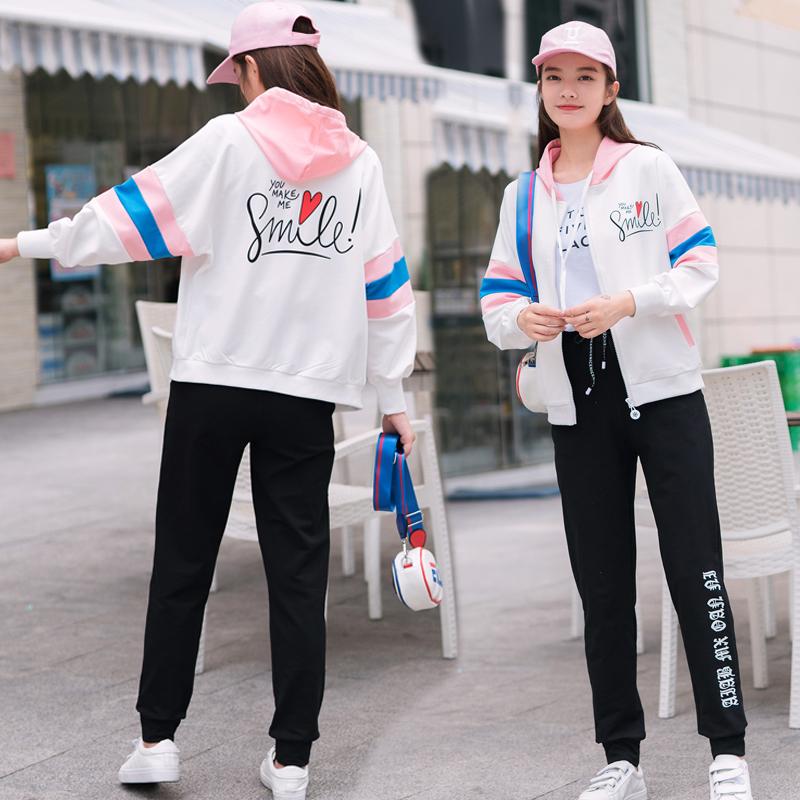 学生套装女2019秋季新款韩版学院风少女宽松初中女生春秋装两件套