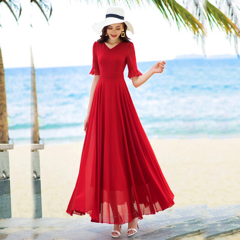 摆雪纺连衣裙妈妈装度假沙滩裙
