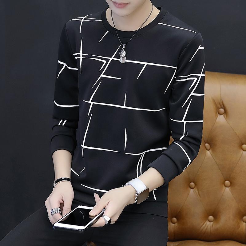 秋冬男士长袖T恤青年韩版打底衫加厚卫衣大码小衫保暖衣服外套男