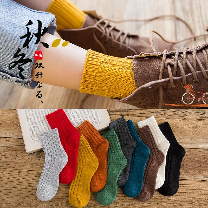 袜子女中筒袜纯棉堆堆袜日系长袜加厚黑色秋冬季韩国ins潮街头夏