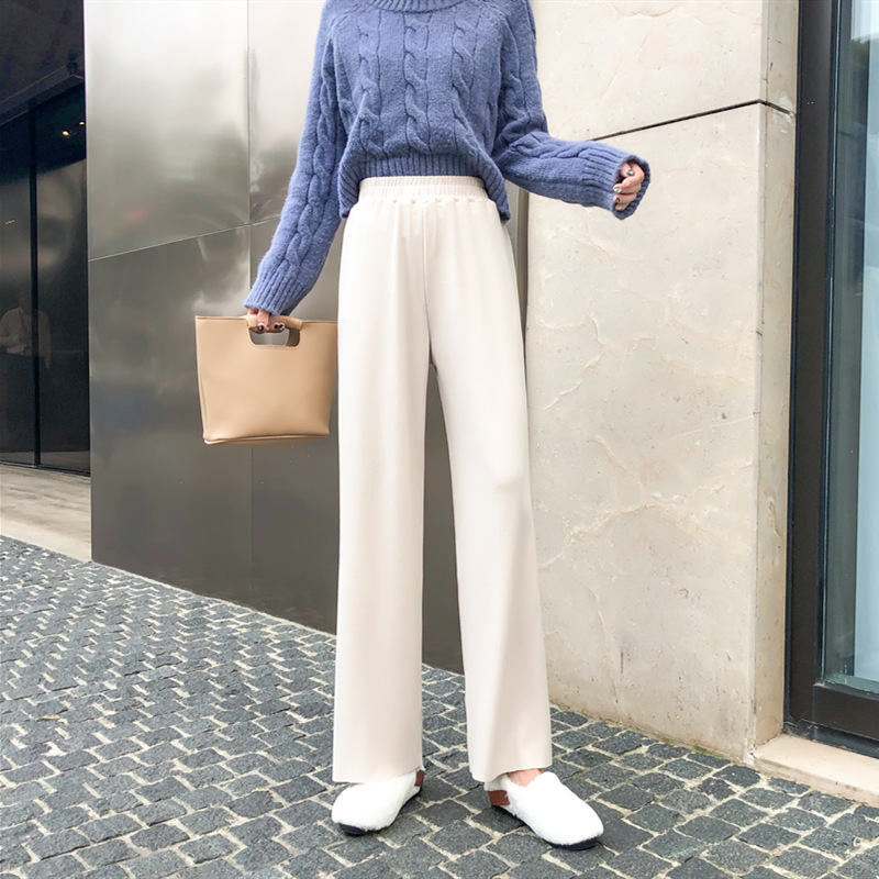 针织拖地阔腿裤女秋冬显瘦高腰垂感宽松直筒155小个子米白色长裤满34元减5元