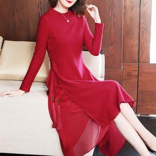 羊毛连衣裙女装冬装2019新款红色喜庆毛呢裙春秋季中长款打底裙子