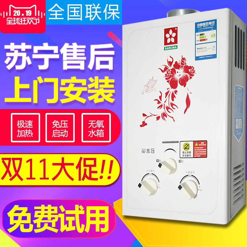 燃气热水器家用液化气天然气煤气洗澡强排式即热式免水压6升