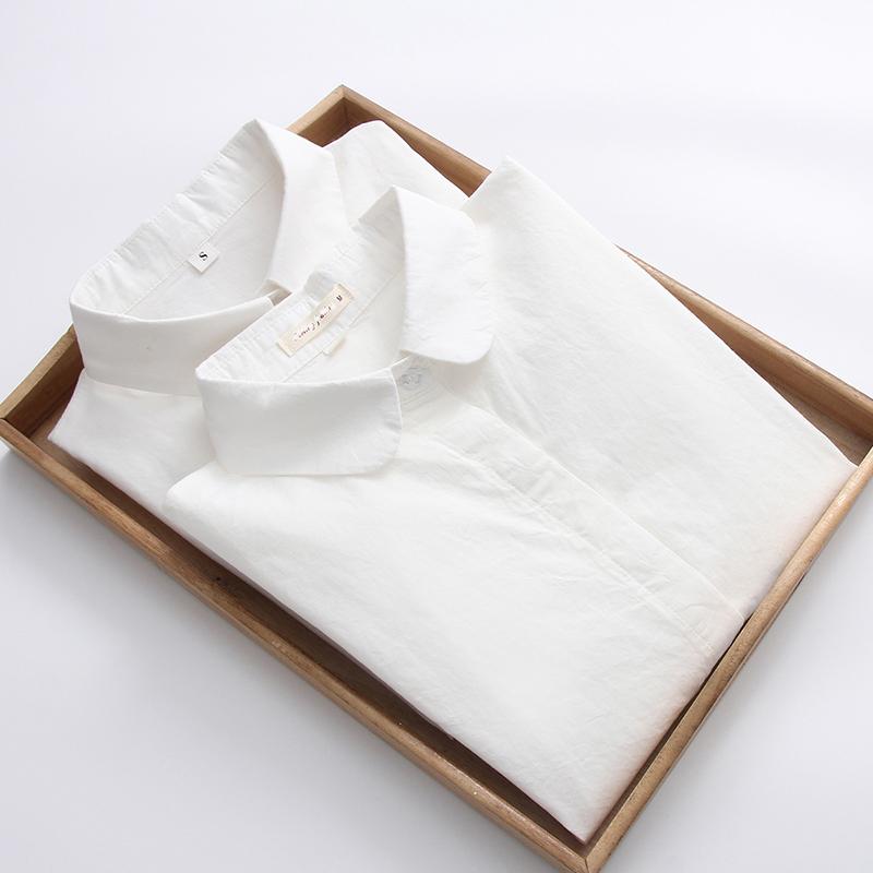 春秋新款韩版纯棉职业白衬衫女长袖翻领宽松百搭学生休闲女式衬衣