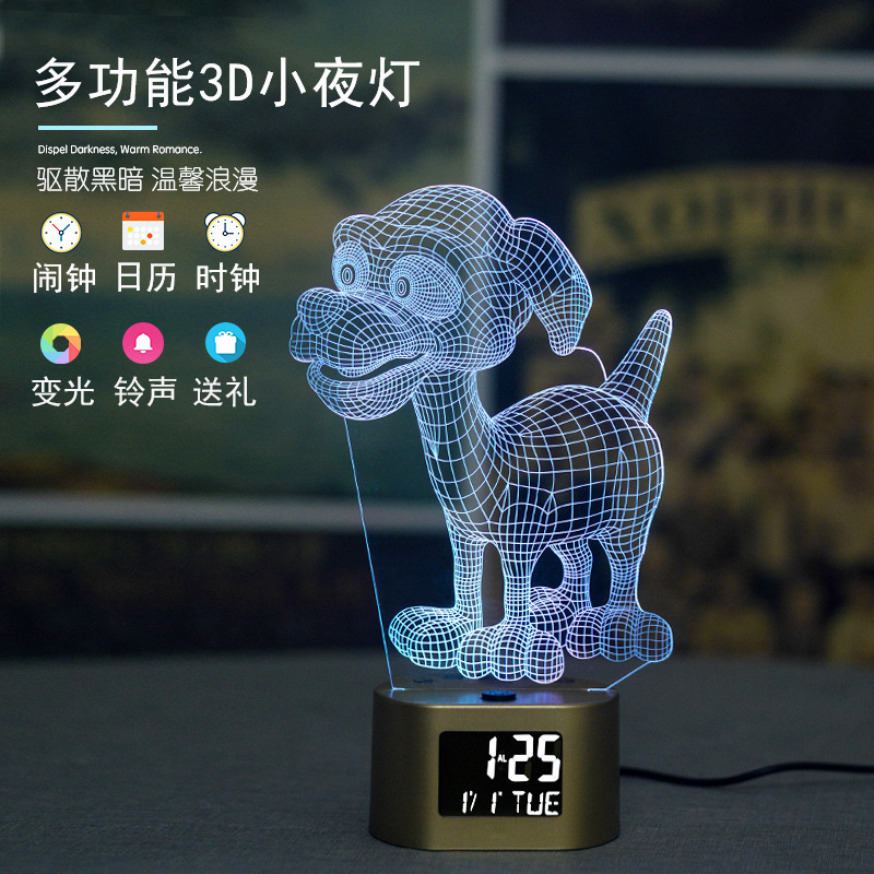 新品2019LED夜光灯3D立体图案小夜灯家居创意节日礼品个性小台灯