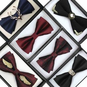 Men's Bow Tie Bow Men Married Groomsman Suit Shirt Brother Group Annual Meeting Black England Tide
