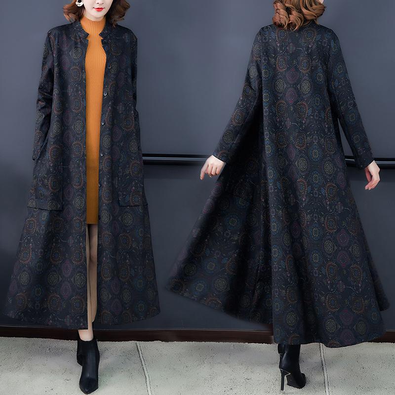 2019秋季新款中长宽松版大妈女装风衣外套开衫女装-卡西法-