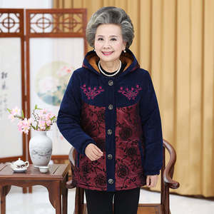 Middle-aged and elderly women's winter clothing new coat 40-50 years old middle-aged mother's clothing plus velvet hooded cotton clothing