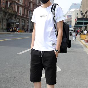 夏季男士套装青少年短袖t恤男士上衣服大码宽松七分裤短裤韩版潮
