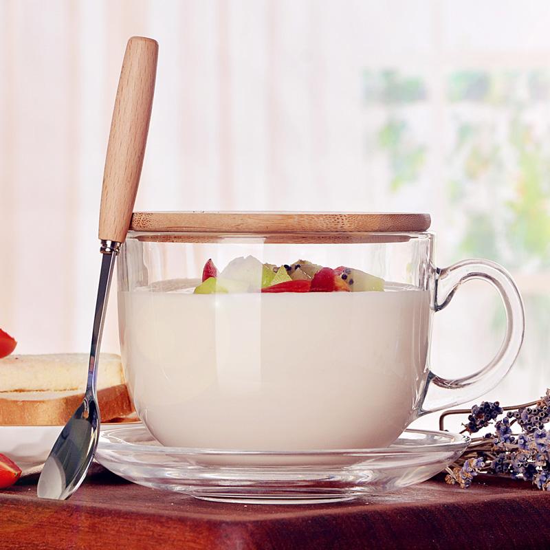大容量玻璃马克杯燕麦杯子日式带盖勺早餐杯牛奶杯麦片碗家用透明