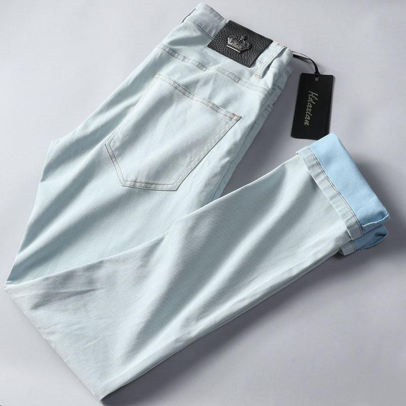 让你舒适的一塌糊涂 春夏浅蓝色水洗修身牛仔裤 小直筒天丝牛仔裤