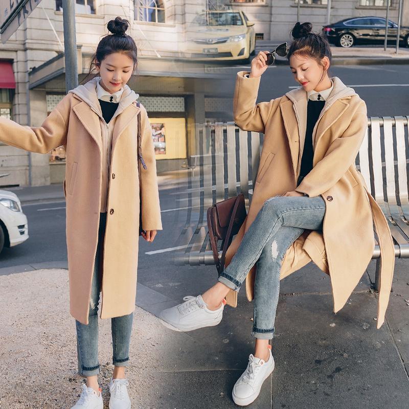 假两件毛呢外套女中长款2018新款韩版秋冬宽松连