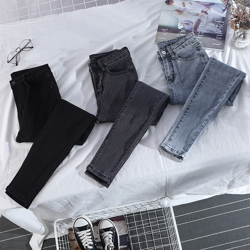加厚 弹力 紧身 牛仔裤 秋装 新款 修身 瘦小
