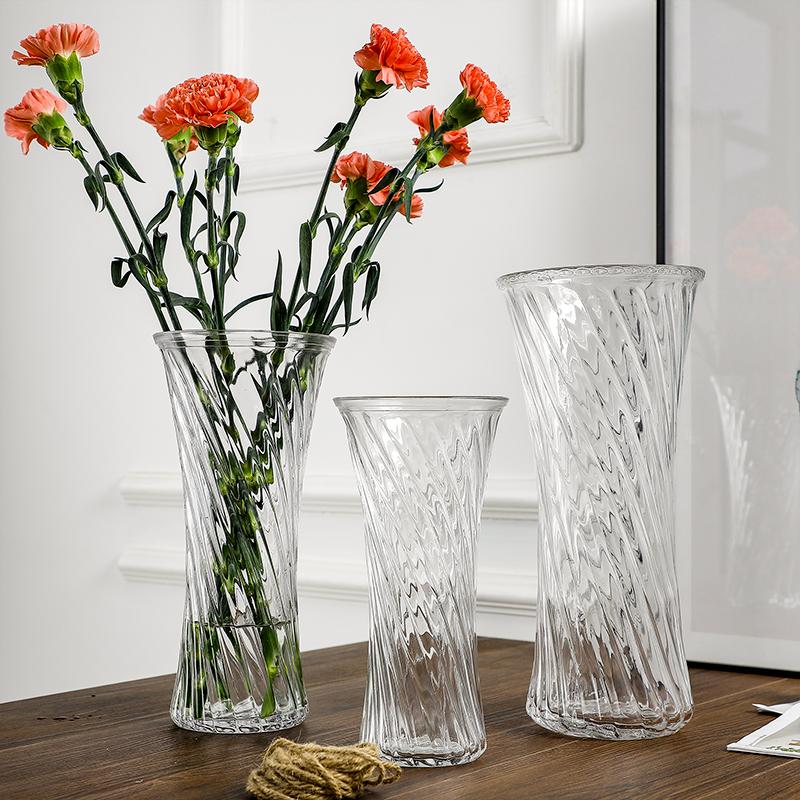 简约水培富贵竹花瓶家用大号透明玻璃花瓶客厅插鲜花干花花器摆件