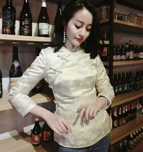 秋冬显瘦刘美e33刘钰懿同li良加厚香槟色银丝旗袍短款(小)棉袄