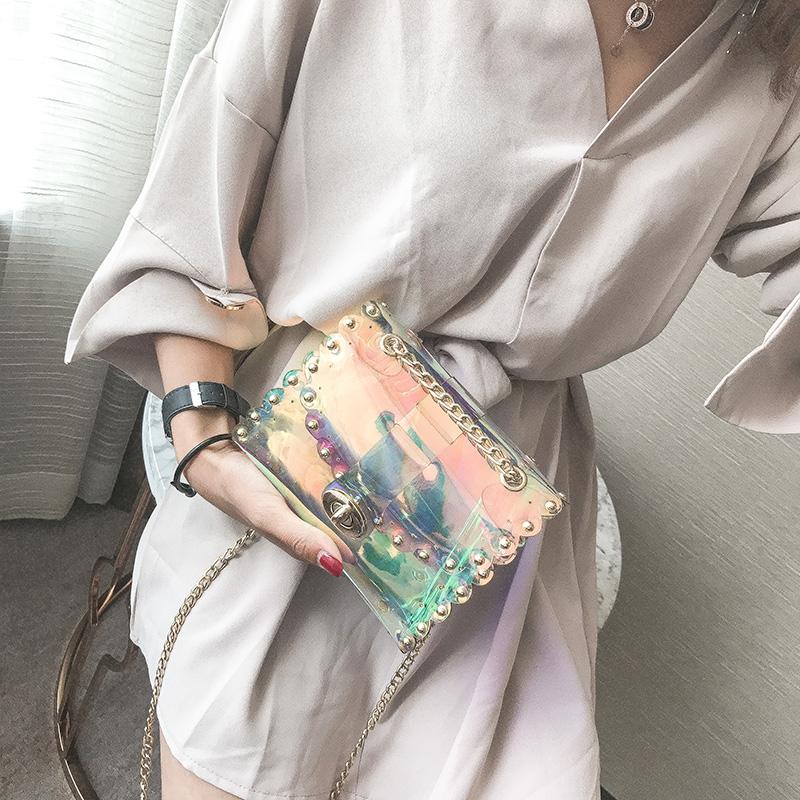 天天果冻小包包女2017新款单肩斜挎包大气韩版学生透明包
