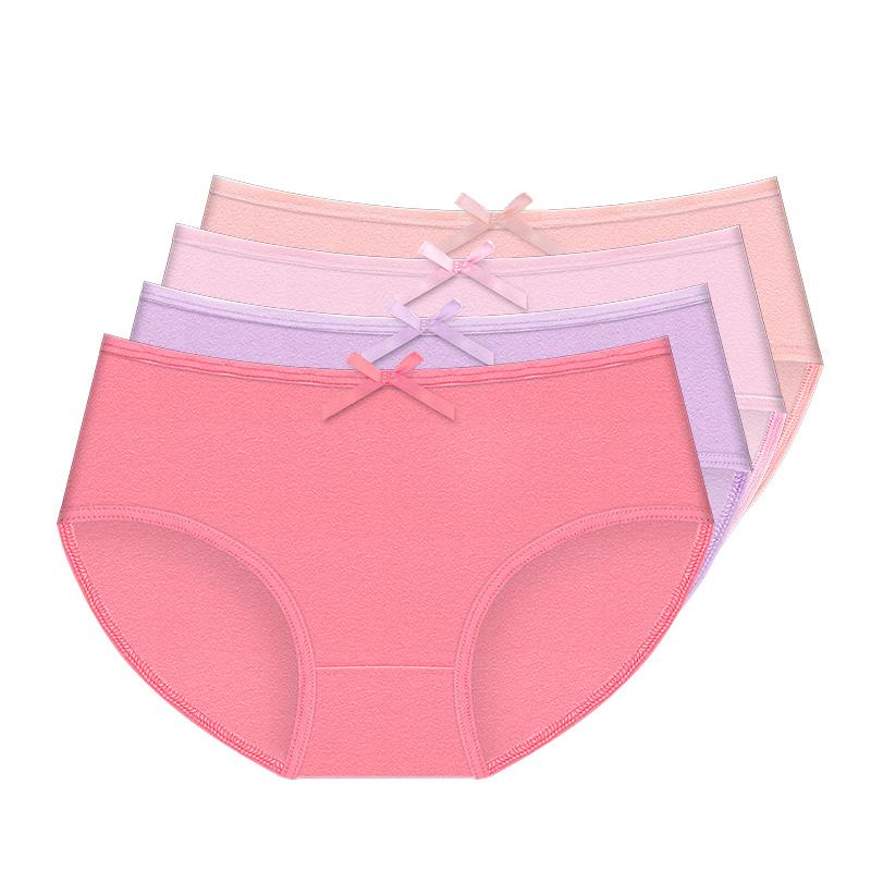 【靓真内衣旗舰店】女士中腰纯棉内裤4条