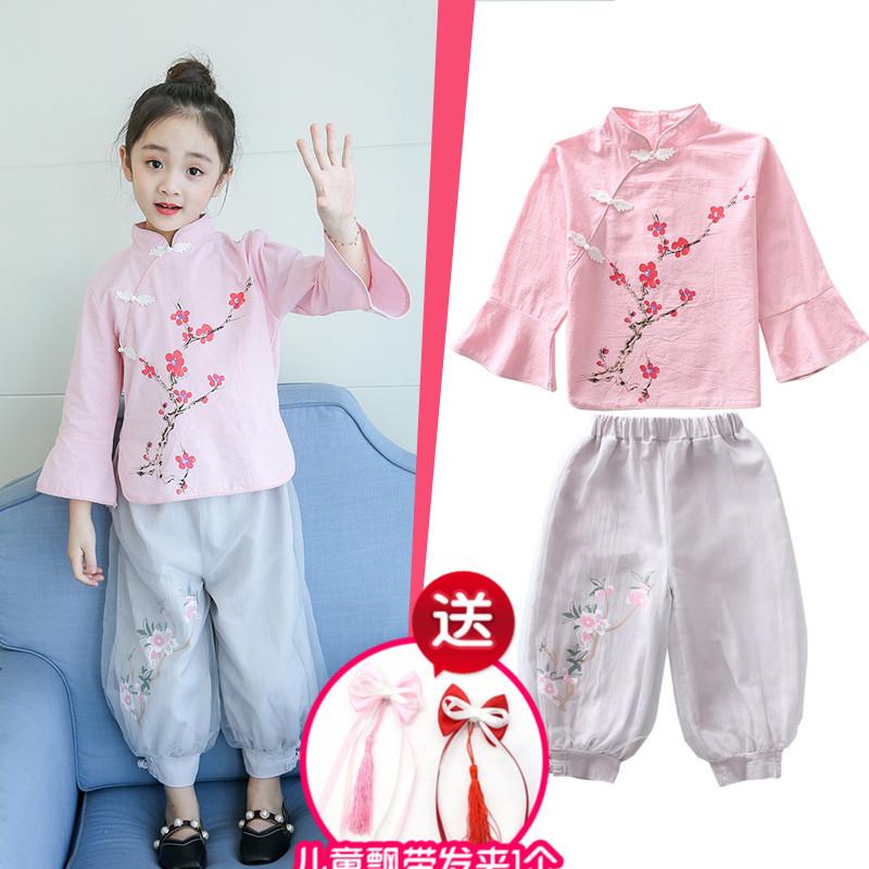 女童汉服中国风秋装长袖复古改良童装小女孩宝宝旗袍套装儿童唐装
