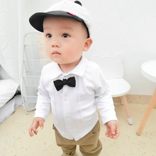 男童衬衣ci1装婴儿白ce宝长袖polo衫春秋儿童女童上衣洋气潮