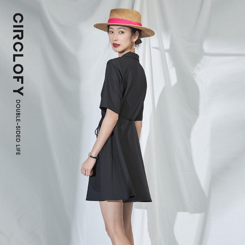 阿cir黑色西装领连衣裙女装2021夏季新款性感法式复古收腰长裙子