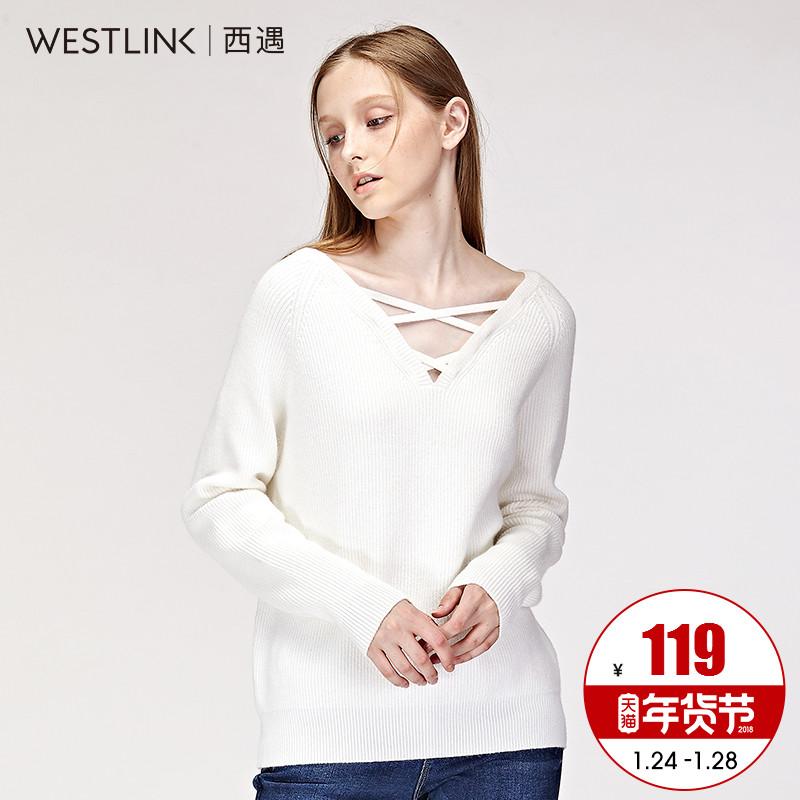 西遇长袖针织衫女前V领绑带套头上衣2017秋季新款宽松短款毛衣女