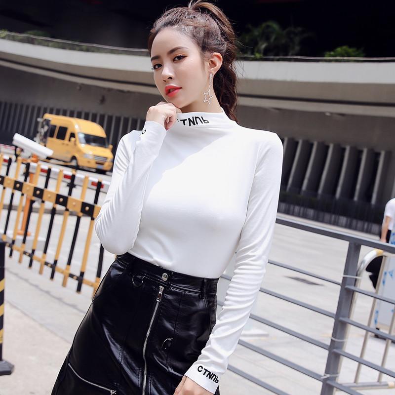 半高领加绒打底衫女2018秋冬季新款修身字母内搭长袖上衣白色T恤