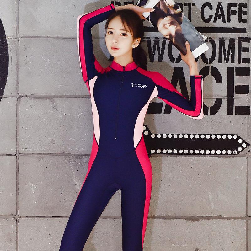 2019新款连体泳衣女长袖长裤防晒保守显瘦遮肚大码专业全身游泳衣