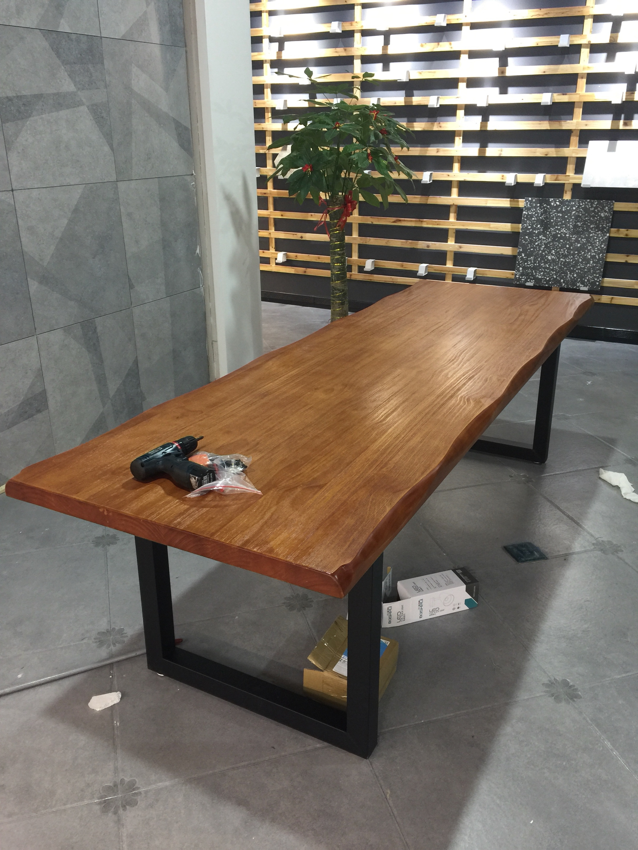 简约铁艺实木大板桌办公桌工作台洽谈桌长方形会议桌复古写字桌子