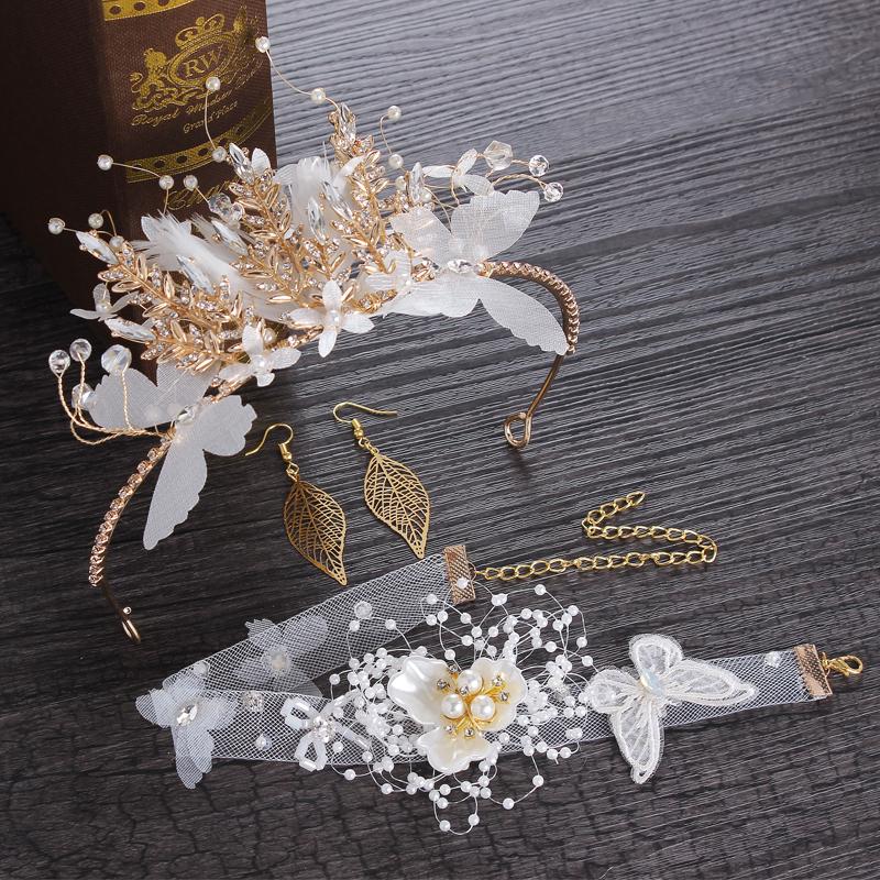 新娘皇冠头饰2018新款超仙婚纱头饰三件套韩式公主结婚发箍配饰品