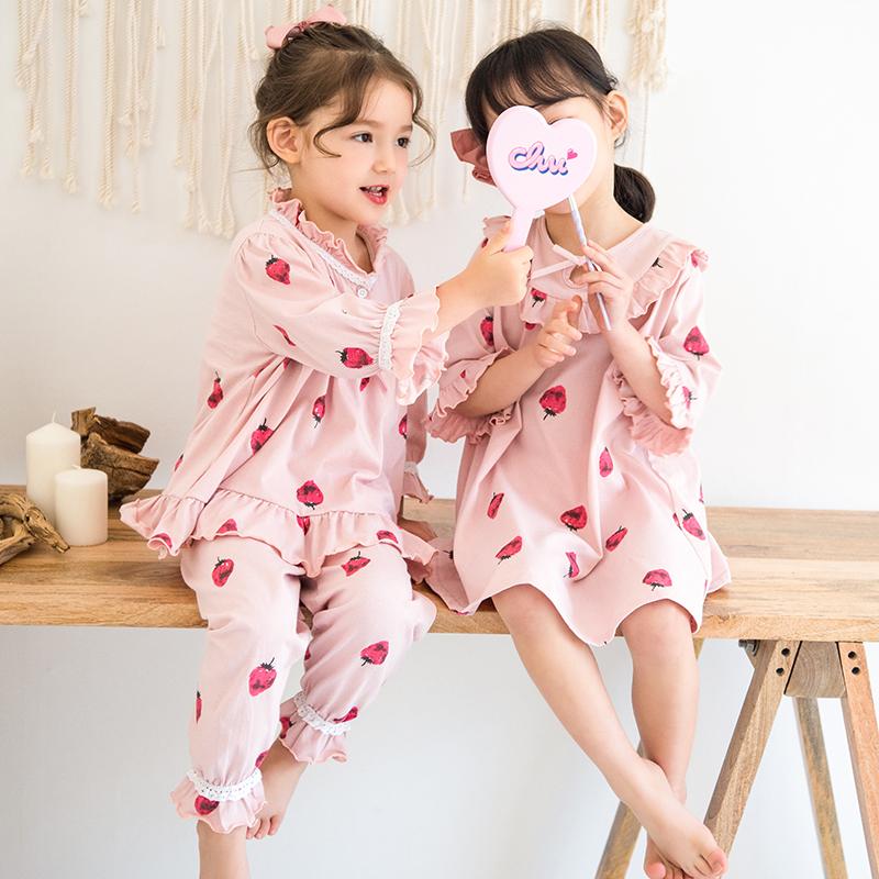 儿童睡衣女春秋季纯棉女童夏季家居服女童睡裙小孩薄款宝宝亲子款