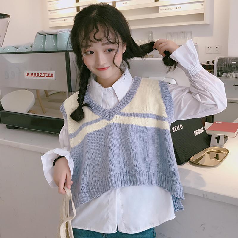 秋装韩版宽松ulzzang针织衫学生衬衫+短款毛衣无袖背心马甲套装女