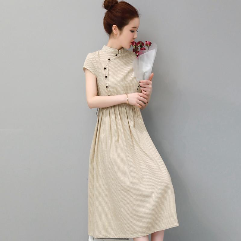 夏季复古改良旗袍民族风中长款棉麻连衣裙优惠后15元包邮
