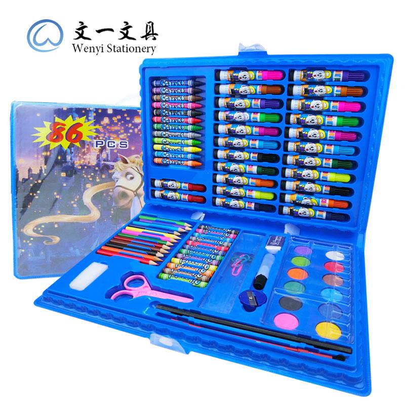 儿童文具大礼包幼儿园生日蜡笔礼盒水彩笔美术文具环保绘画套装