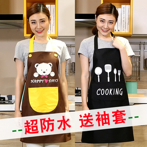 Kitchen waterproof and oil-proof apron sleeve plastic home fashion cute leather men and women overalls custom printed logo