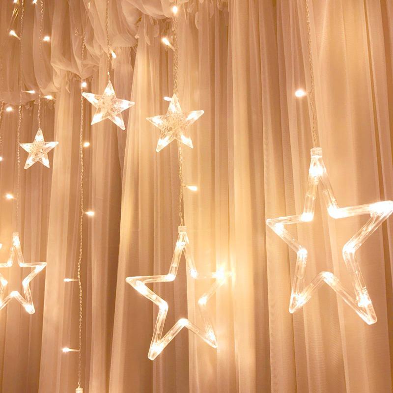 彩灯闪灯串灯满天星星灯窗帘卧室房间窗户装饰品阳台表白布置浪漫