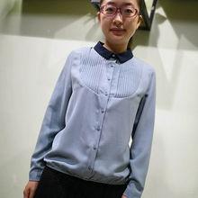 韫YUds0正品专柜er简约风琴(小)尖领百搭雪纺衬衫长袖打底上衣
