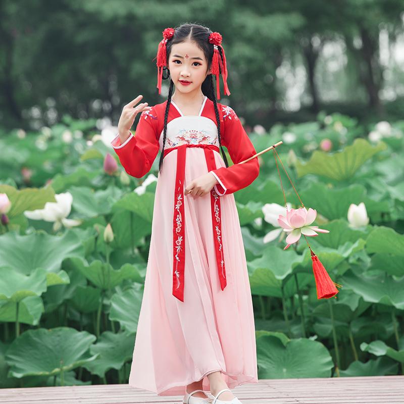 中国风汉服女童古装儿童仙女襦裙超仙飘逸唐装小女孩连衣裙演出服