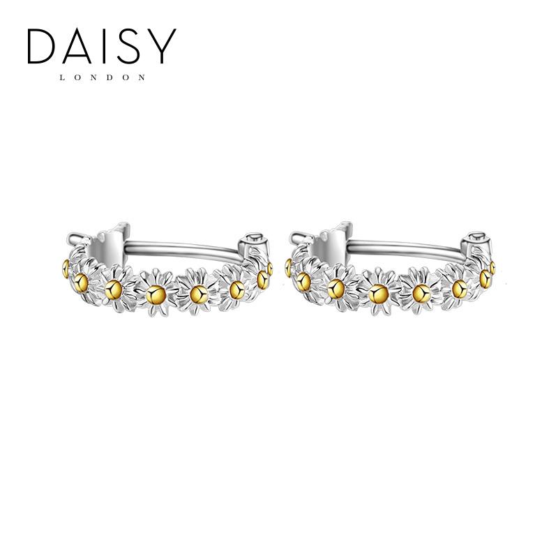 daisy london手工迷你小雏菊花环耳环女 简约个性925银小清新耳饰