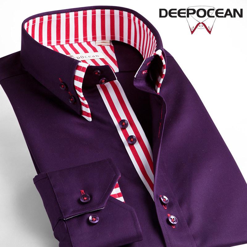 双层领丝光棉韩版潮流修身寸商务休闲衬衫男长袖男士纯棉青年衬衣