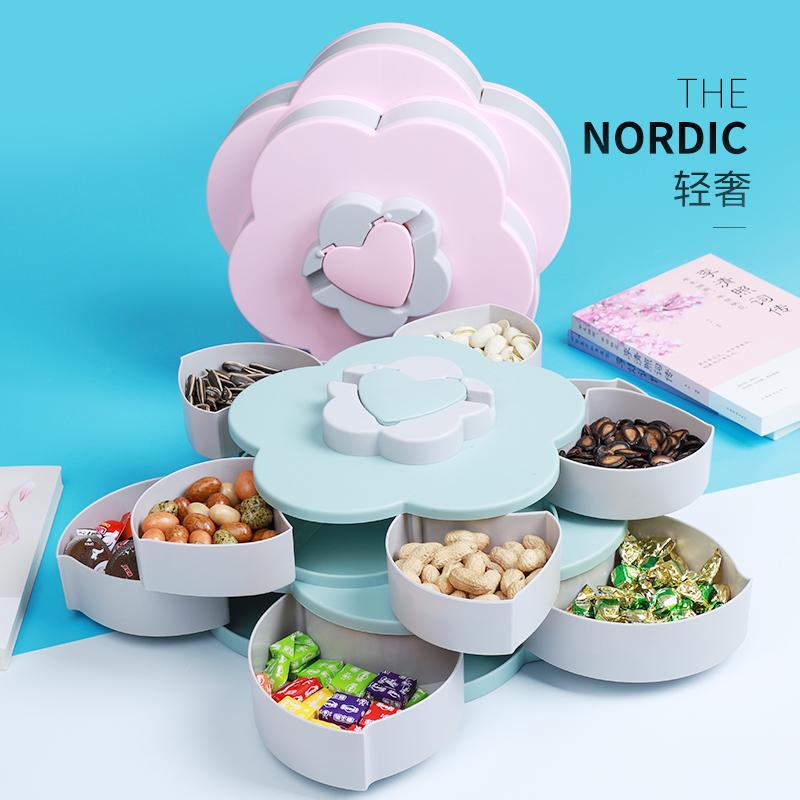 双层旋转花瓣果盘花型糖果盒零食创意客厅现代家用干果收纳盒CC