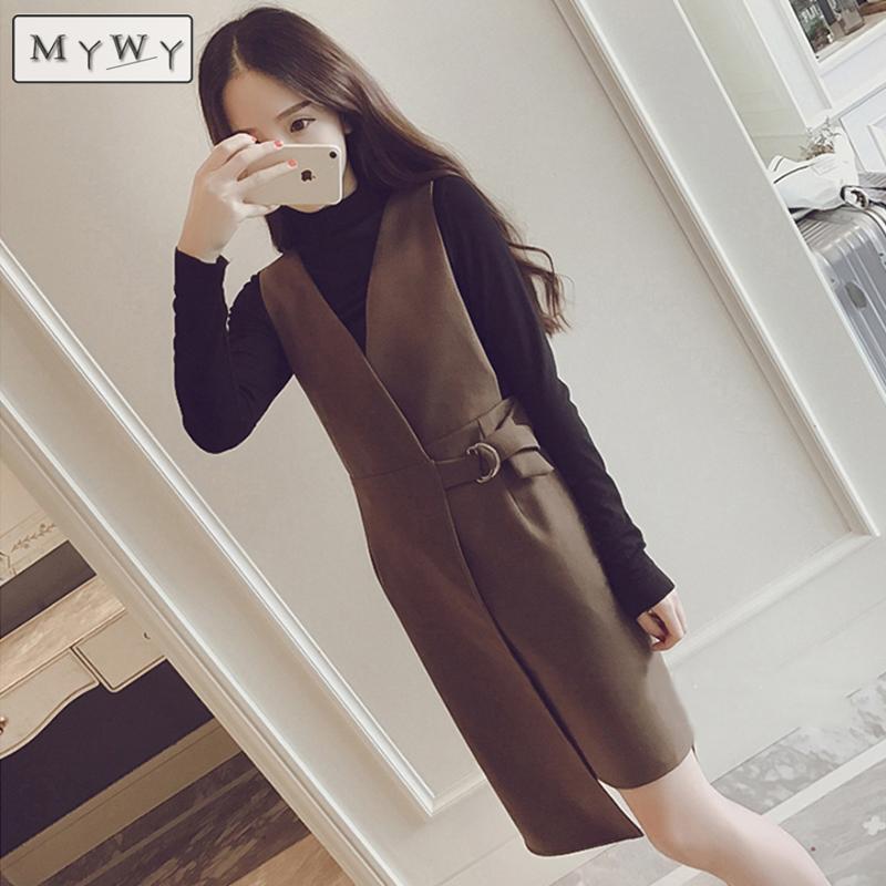 秋冬装针织两件套连衣裙小香风显瘦不规则长袖套头背带裙套装裙潮