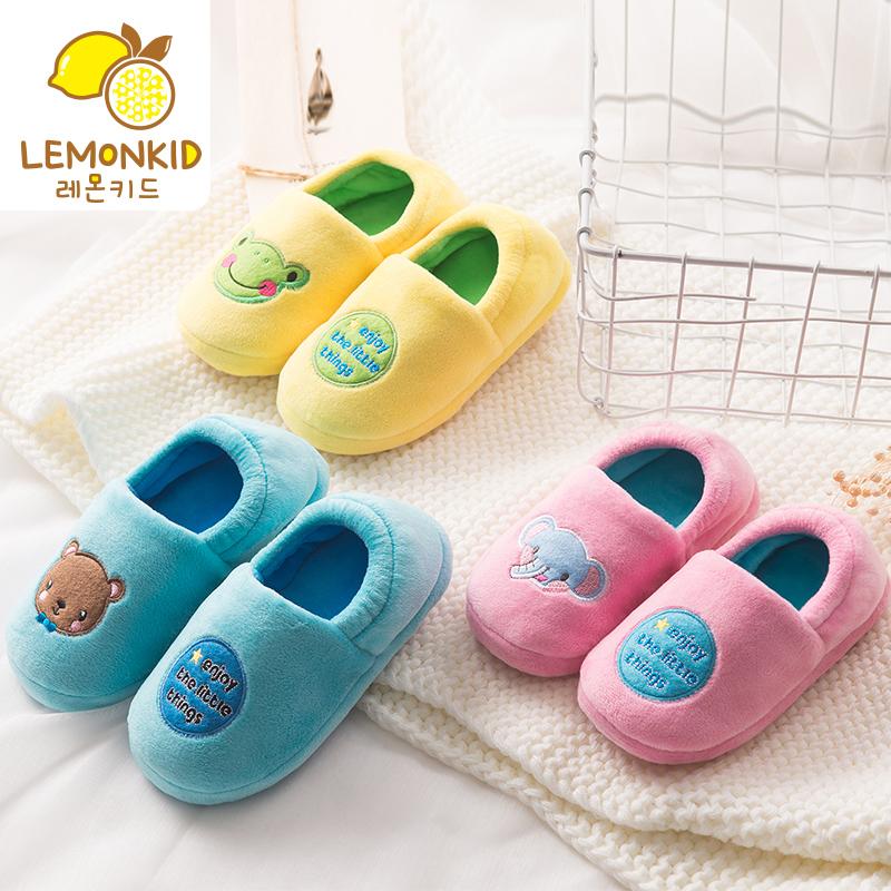 秋冬季可爱儿童棉拖鞋男童女童宝宝中大童保暖防滑包跟室内家居鞋